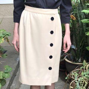 Vintage cream Valentino wool pencil skirt